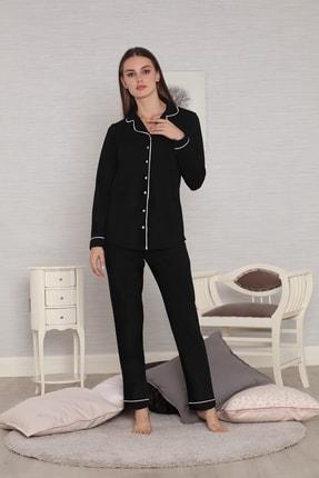 FREZYA Siyah Biyeli Düğmeli Pamuk Penye Uzun Kol Kadın Pijama Takımı 1
