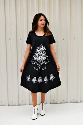 MGS LİFE Kadın Koyu Lacivert Kısa Kollu Çiçek Baskılı Çan Etek Elbise 0