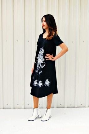 MGS LİFE Kadın Koyu Lacivert Kısa Kollu Çiçek Baskılı Çan Etek Elbise 2
