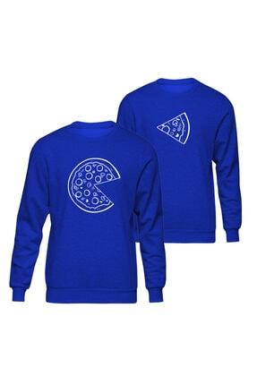 Sevgili Çift Kombinleri Pizza Slice Mavi Sweatshirt ST153SK1141