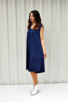 MGS LİFE Kadın Lacivert Kolsuz Düz Renk Çan Etek Elbise 2