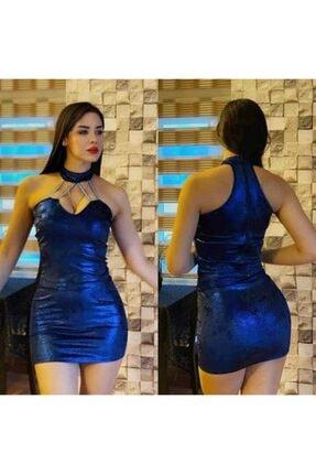 Kadın Elbise MAVİ KADİFE ELBİSE