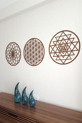 Naz Ahşap Design Yaşam Çiçeği Sri Yantra Ve Torus 3'lü Set Kahverengi Duvar Tablosu 1