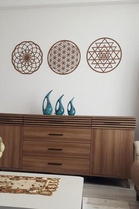 Naz Ahşap Design Yaşam Çiçeği Sri Yantra Ve Torus 3'lü Set Kahverengi Duvar Tablosu 2