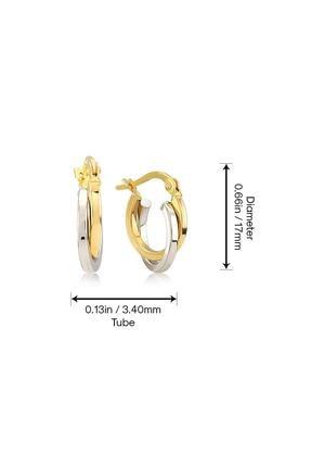 Gelin Pırlanta Kadın Küpe 14 Ayar Altın Çift Renk Halka 1.7 cm Küpe 3