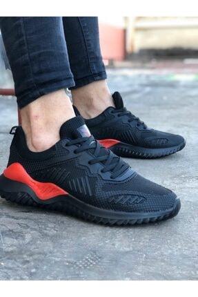 Odal Shoes Unisex Siyah Kırmızı Sneaker Spor Ayakkabı Takax0132 0