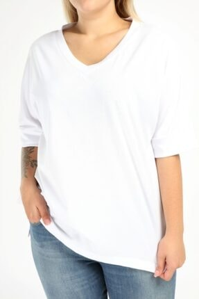 Picture of Kadın Angelino Büyük Beden V Yaka Duble Kol T-shirt 2557