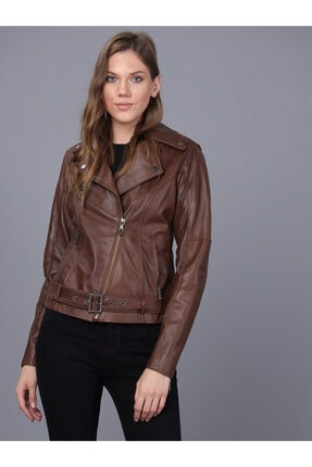 Basics&More Kadın Kahverengi Deri Ceket 1