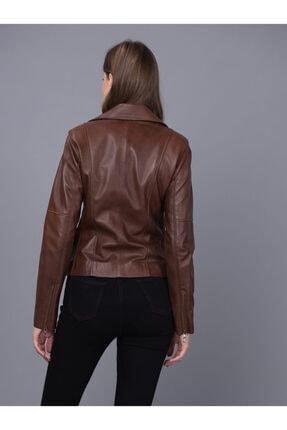 Basics&More Kadın Kahverengi Deri Ceket 2