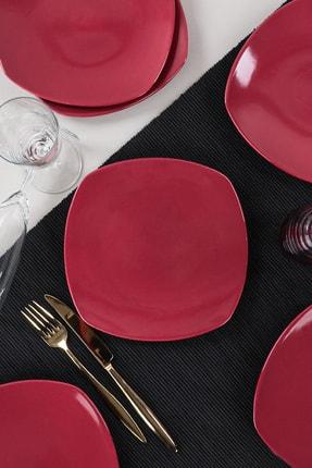 Keramika Carmen Kırmızı Köşem Pasta Tabağı 22 Cm 6 Adet 1