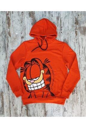Built By Crazy Unisex Turuncu Garfield Baskılı Sweatshirt 0