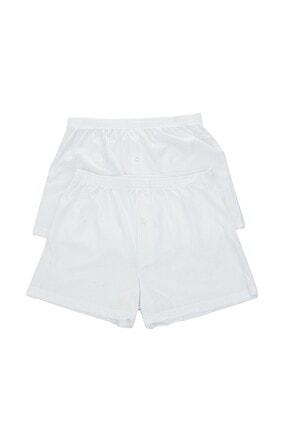 تصویر از 4 Adet Penye Beyaz Paçalı Boxer