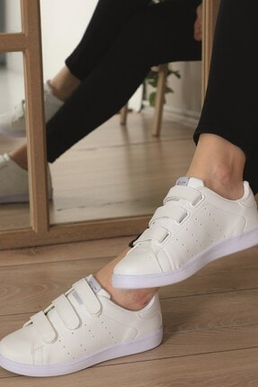 AlbiShoes Unisex Cırtlı Beyaz Sneaker - Bcc75 2
