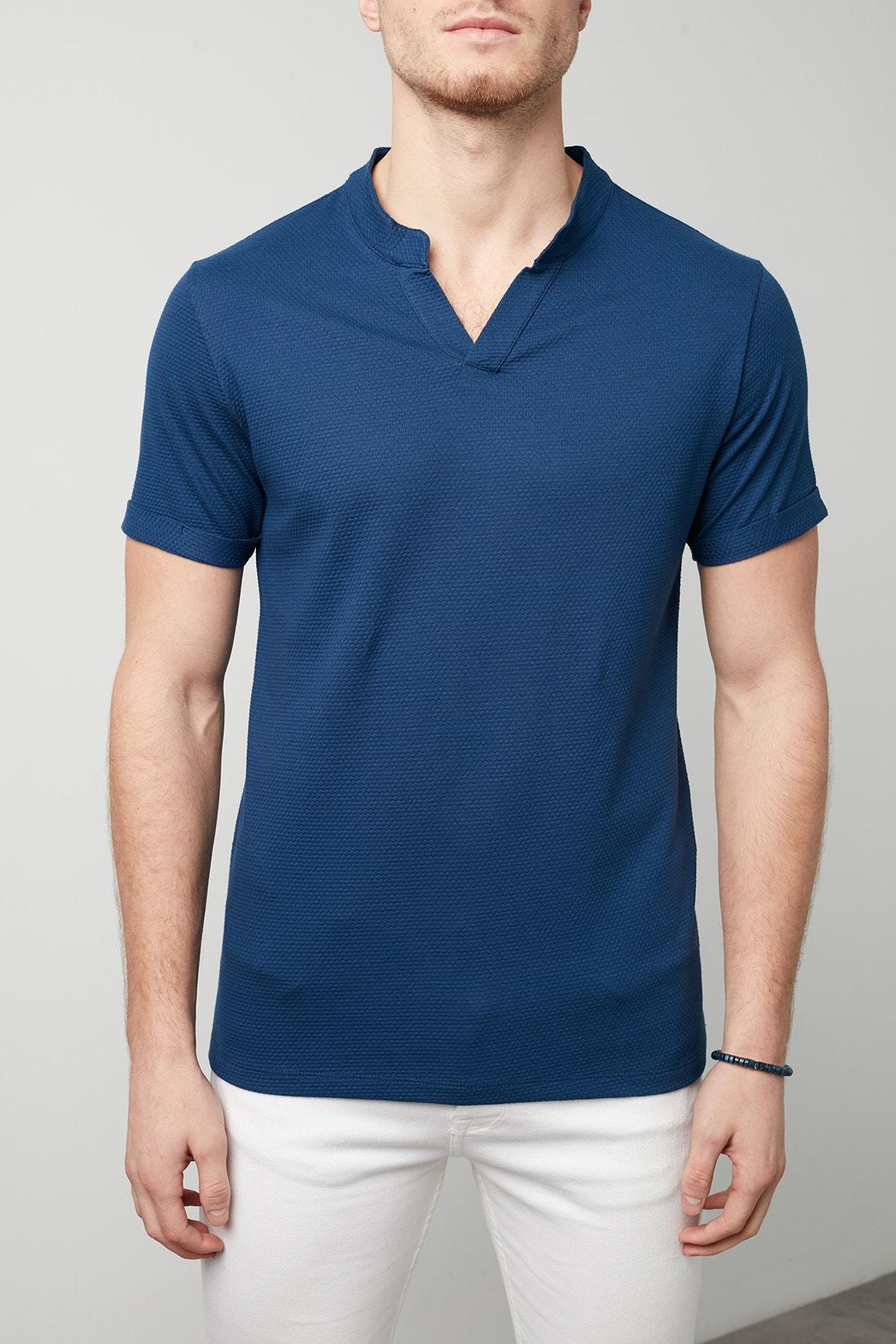 Buratti Erkek LACİVERT V Yaka Rahat Kesim Basic T Shirt CF20S214365 4