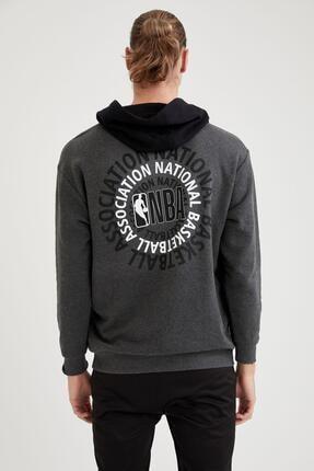 Defacto Erkek Nba Lisanslı Unisex Oversize Fit Kapüşonlu Sweatshirt 3