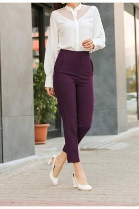 ZARAZA Kadın Bordo Yüksek Bel Dikişli Binici Pantolon 1071 2