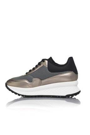 İnci Kadın Gri Vegan Atlas Tekstil Bağcıklı Klasik Spor Ayakkabı -i3010 3
