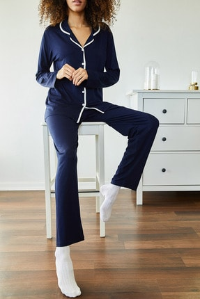 Xena Kadın Lacivert Yumuşak Dokulu Esnek Örme Pijama Takımı 1KZK8-11024-14 1