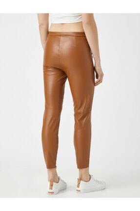 Koton Kadın Kahverengi Deri Görünümlü Pantolon 3