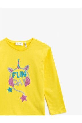Koton Kız Çocuk Sarı Pamuklu Simli Baskili Bisiklet Yaka Uzun Kollu Tshirt 2