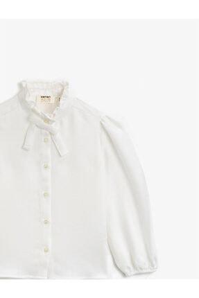 Koton Kız Çocuk Beyaz Dik Yaka Fırfırlı Düğmeli Uzun Kollu Bluz 1