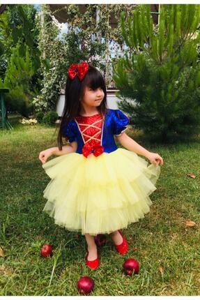 Mixie Kız Çocuk Sarı Pamuk Prenses Doğum Günü Kostüm Elbisesi 3