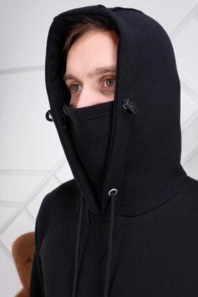 ZEKA GRUP TEKSTİL Erkek Siyah Kendinden Maskeli Kapüşonlu Kanguru Cepli Sweatshirt 3