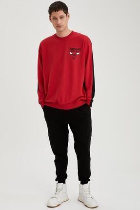 Defacto Erkek Kırmızı Nba Lisanslı Unisex Oversize Fit Sweatshirt 1