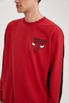 Defacto Erkek Kırmızı Nba Lisanslı Unisex Oversize Fit Sweatshirt 2