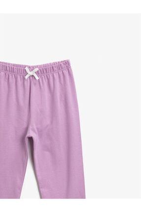 Koton Kız Çocuk Mor Pamuklu Beli Lastikli Basic Esofman Alti 2