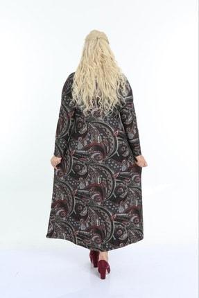 Şirin Butik Kadın Bordo Büyük Beden Yaka Pervazlı Elbise 4