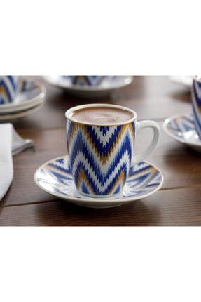 English Home Eva Porselen 6'lı Kahve Fincan Takımı 100 ml Mavi 2