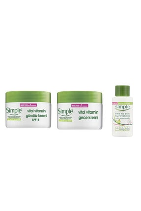 Simple Vitamin Gece Kremi50 ml + Gündüz Kremi 50 ml + Su Bazlı Nemlendirici 50 ml 0