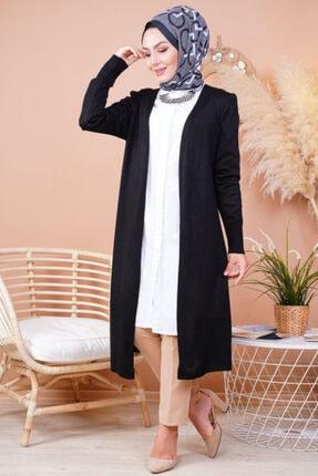 FY Giyim Kadın Siyah Mevsimlik Uzun Triko Hırka 0