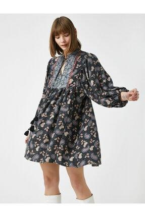 Koton Kadın Gri El Emeği İşlemeli Desenli Uzun Kollu Elbise 1