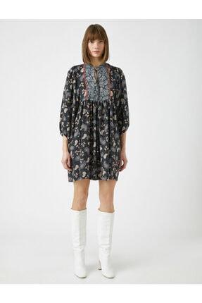 Koton Kadın Gri El Emeği İşlemeli Desenli Uzun Kollu Elbise 2