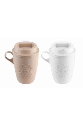 KRD Home Krem ve Beyaz  Kahve Bardağı 2'li 0