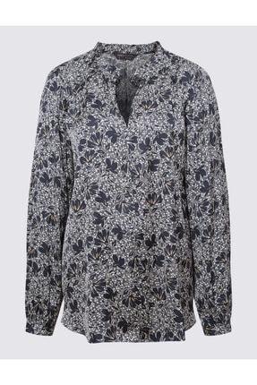 Marks & Spencer Kadın Lacivert Desenli Uzun Kollu Bluz T43003268 0