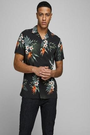 Jack & Jones Erkek Çiçek Desenli Siyah Renk Gömlek 12170678 0