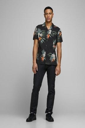 Jack & Jones Erkek Çiçek Desenli Siyah Renk Gömlek 12170678 2