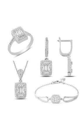 Mercan Silver Gümüş Rodyumlu Baget Taşlı Kolye Küpe Yüzük Ve Bileklik Set 0