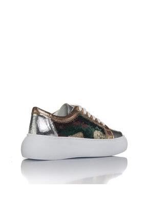 İnci Kadın Gümüş Vegan Kırışıkpul Bağcıklı Klasik Spor Ayakkabı -i3022 2