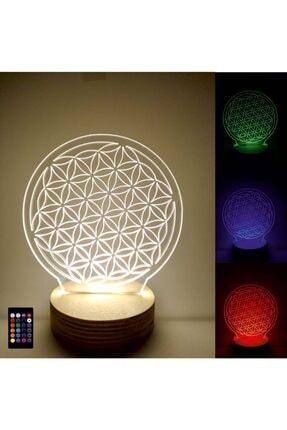 Tablo Art House 3d Led Lamba Masa Lambası Gece Lambası Yaşam Çiçeği 0
