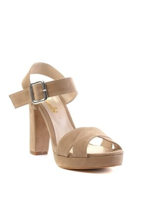 Bambi Krem Süet Kadın Klasik Topuklu Ayakkabı L0501407365 2