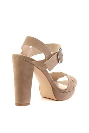 Bambi Krem Süet Kadın Klasik Topuklu Ayakkabı L0501407365 3