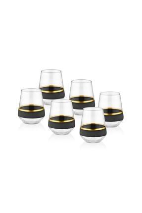 The Mia Glow Su Bardağı 6'lıı Set - Siyah & Gold 0