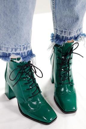 Limoya Margot Yeşil Kırışık Rugan Bootie 1