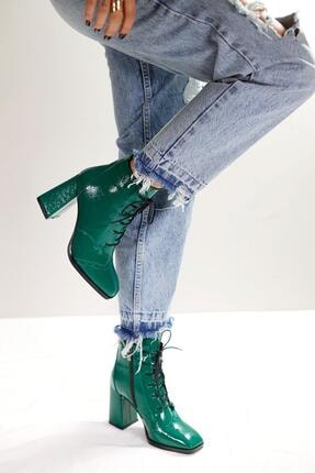 Limoya Margot Yeşil Kırışık Rugan Bootie 2