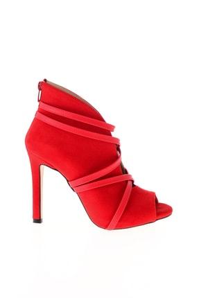 Bambi Kırmızı Süet Kadın Abiye Ayakkabı L0501901665 1