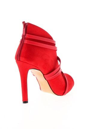 Bambi Kırmızı Süet Kadın Abiye Ayakkabı L0501901665 3